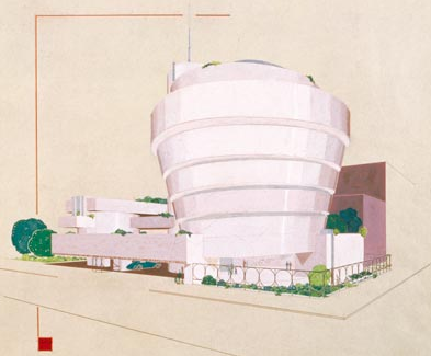 Guggenheim Museum, New York, 1943-59. Perspective, 1943. by Frank Lloyd Wright – ©2009 The frank Lloyd Wright Foundation
