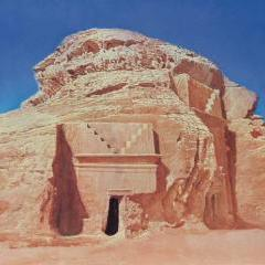 A watercolour of one of the Nabataean tombs at Mada'in Saleh, Nicholas Egon, in the collection of HRH Prince Turki bin Faisal Al