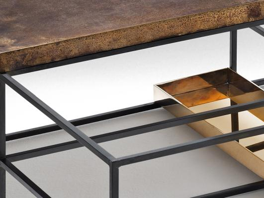 AGES - coffee table (detail) - Nucleo_Piergiorgio Robino + Gabriele Bagnoli - polished and patinated bronze, iron -  2013