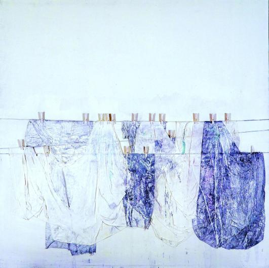 TA53 Tammam AZZAM 'Laundry Series' 180 X 180 cm. Mixed Media,Cloths and Cloth Pegs on Canvas 2008