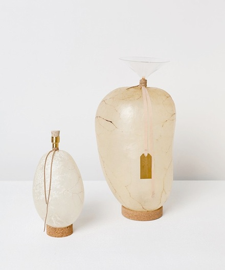 Water containers: Cow bladders, glass, brass, cork