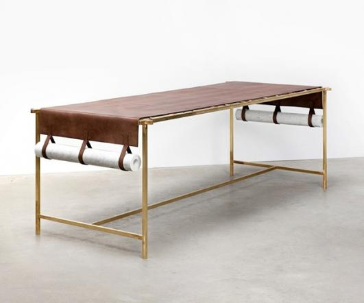 Leather table: Discarded Fendi leather, brass structure, marble weights