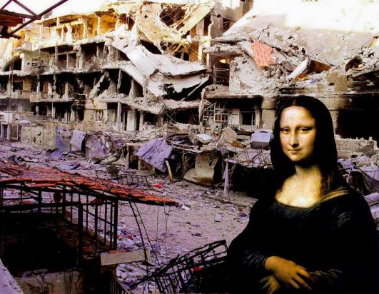 TAP66 Tammam Azzam 'Syrian Museum - Mona Lisa' 100 X 130 cm. Archival Print on Canvas 2012