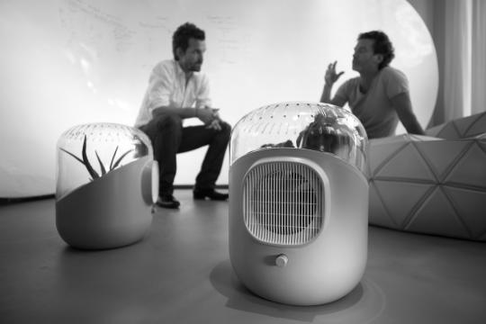 Mathieu Lehanneur and David Edwards with their 'Andrea' air purifier, 2009